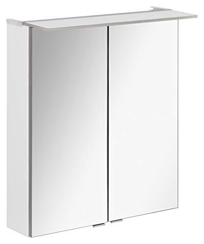 FACKELMANN LED Spiegelschrank B.PERFEKT/Badschrank mit Soft-Close-System/Maße (B x H x T): ca. 60 x 69 x 15 cm/hochwertiger Schrank mit Spiegel und Beleuchtung für das Bad/Korpus: Weiß