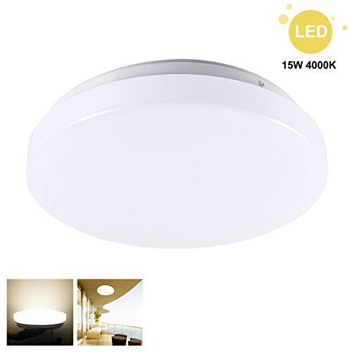 GreenClick 15W LED Deckenleuchte Dimmbar Deckenlampe 4000K Natürliches Weiß,Runde wandleuchte für Schlafzimmer Wohnzimmer Küche Balkon CRI über 80, Ersatz für 120W Glühbirnne(4000K)