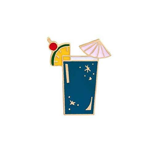 Kostüm Verwandte Kaffee - JTXZD Brosche Sommer Strand Mode Cartoon Emaille Pins Fruchtsaft Kaffee Wein Tee Tasse Brosche Denim Jacken Abzeichen Broschen für Frauen