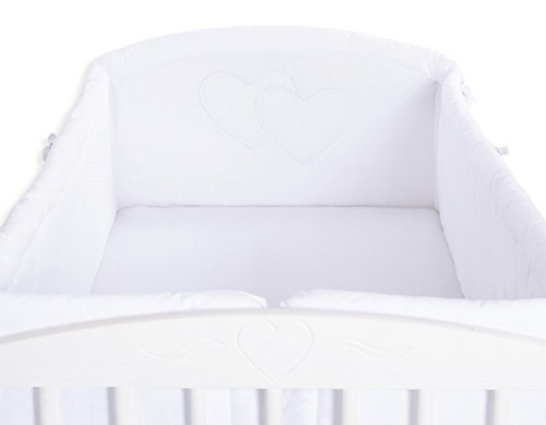 Tour de lit bébé complet blanc à coeur XXL