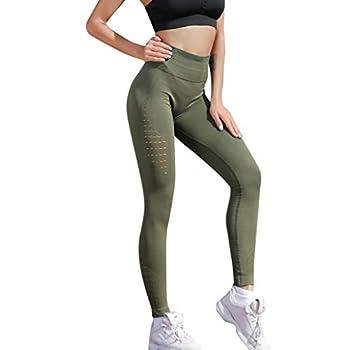 LEvifun Pantalons De Yoga Coutures Mode Femmes Leggings Taille Haute Élastique Longue Évider Solide Chic Yoga Course Running Fitness Sports Pantalons Trousers Pants pour Femmes