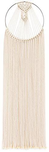 (Mkouo Makramee Wandbehang Dekoration für Ihr Zimmer wie die Küche Böhmische Wanddeko Wandteppich von Baumwolle Handgefertiges Textil Einzigartiger dekorativer und beiger Türvorhang)