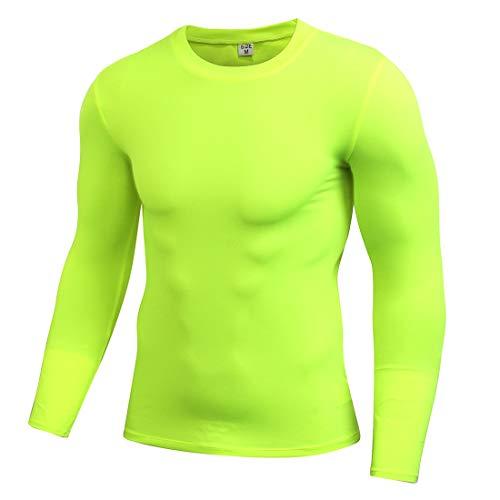 Grün Training Top T-shirt (GWELL Herren Schnelltrocknend Kompressionsshirt Langarm Sport Trikot T-Shirts Unterhemd Top für Fitness Training Jogging Grün L)