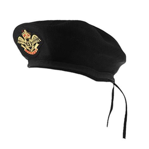 Fenteer Matrosen-Kostüm Matrosenmütze Seemannhut Strickmütze Baskenmütze KMütze Kopfbedeckung - Schwarz Adler, 54cm