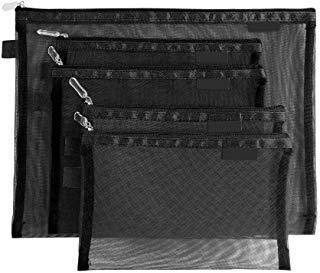 Tofinder Bolsas de cosméticos transparentes Bolsas de malla de maquillaje con cremallera Estuche para lápices Estuche de viaje Conjunto de estuches de almacenamiento (Negro)