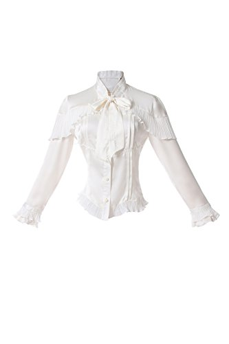 tin Geschäfts Shirt Vintage Viktorianische Langarm Tops Weiß (Weiß, XL) (Plus Size Mittelalterlichen Kleid)