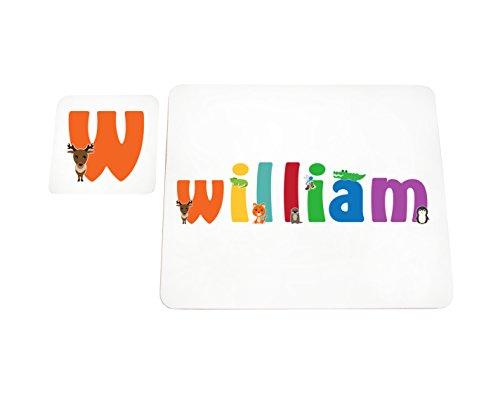 Little Helper Napperon avec Coaster Style Illustratif Coloré avec le Nom de Jeune Garçon William