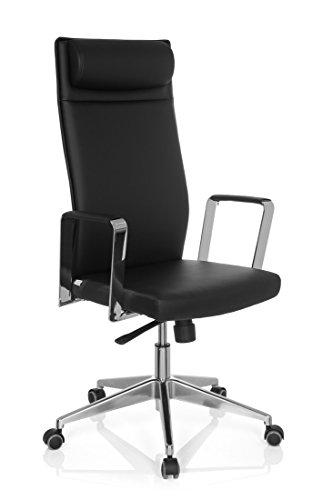hjh-OFFICE-724420-chaise-de-bureau-fauteuil-de-bureau-DESAIN-noir-avec-accoudoirs-dossier-haut-inclinable-avec-appuie-tte-pitement-robuste-en-acier-chrom-design-moderne-et-lgant
