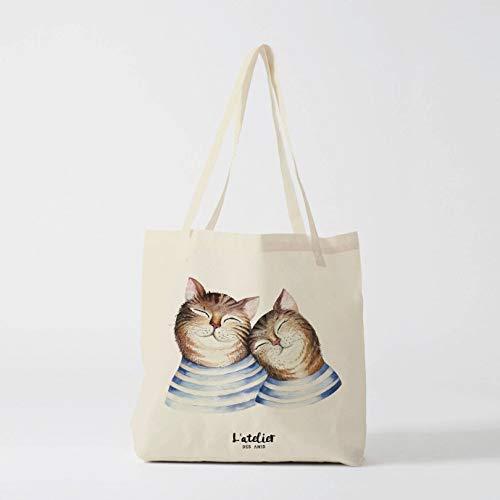 Tote Bag Tier-Katze Canvas Baumwolle Tasche Windeltasche Handtasche Tote Bag Kids Bag Courses Shopping Bag