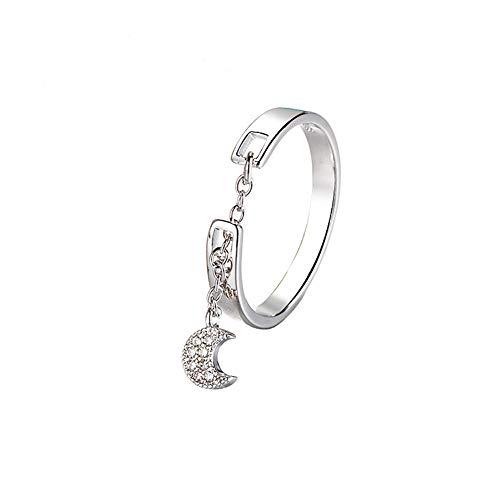 Lovinda Girl Frauen Silber überzogene Ring Mode Mond Kette Ring offen einstellbar Edelstahl Fingerring Günstige Schmuck Zubehör für Freundin Dame Geburtstagsgeschenk