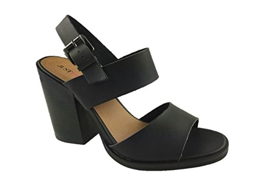 dcc722a4a5e LADIES FAUX LEATHER FASHION STRAPPY SANDALS BLOCK HEEL BLACK SIZE 3-9 (3.5)