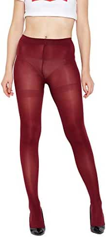 f9a78d973f4 GOLDEN GIRL Valvety Soft Opaque Pantyhose Stockings (Maroon