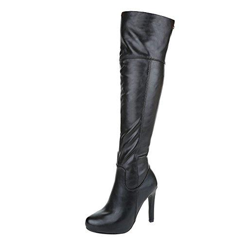 VogueZone009 Damen Hoher Absatz Überknie Hohe Stiefel Reißverschluss Stiefel, Weiß, 39