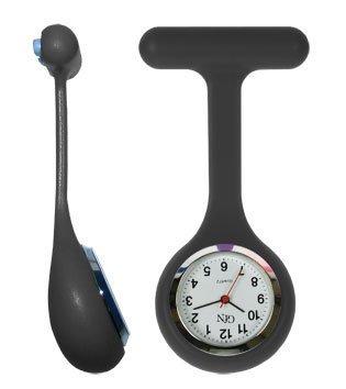 G4N No Touch Infektionskontrolle Krankenschwester Hebamme Doctor Silikon Taschenuhr–verschiedene Farben (schwarz)