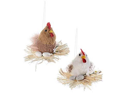 Ideapiu 12 gallinella su nido di paglia con uova da appendere