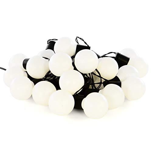Nipach GmbH LED Partylichterkette Partybeleuchtung Lichterkette für Weihnachten Hochzeit Kindergeburtstag - 20 Leuchtkugeln mit Trafo - innen & außen - warm-weiß