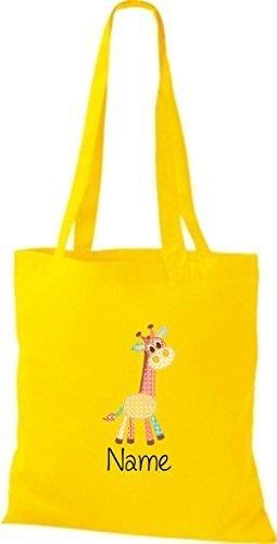 Borsa di stoffa con DOLCE FANTASIE incl. NOME PERSONALIZZABILE Giraffe giallo dorato