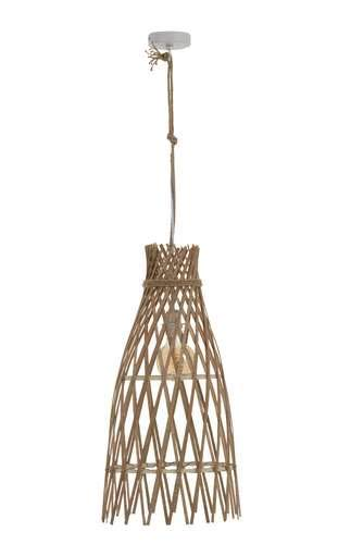 Grande lampe suspension ethnique en bambou naturel
