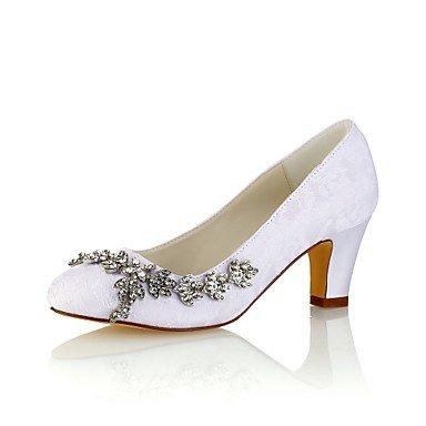 Wuyulunbi@ Scarpe da donna in raso elasticizzato caduta della molla della pompa base scarpe matrimonio Chunky tallone punta tonda cristallo per Party & abito da sera Champagne Bianco