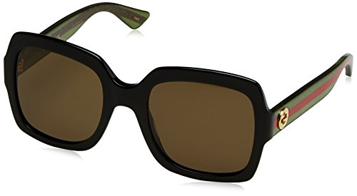 Gucci Damen GG0036S 002 Sonnenbrille, Schwarz (Black/Brown), 54