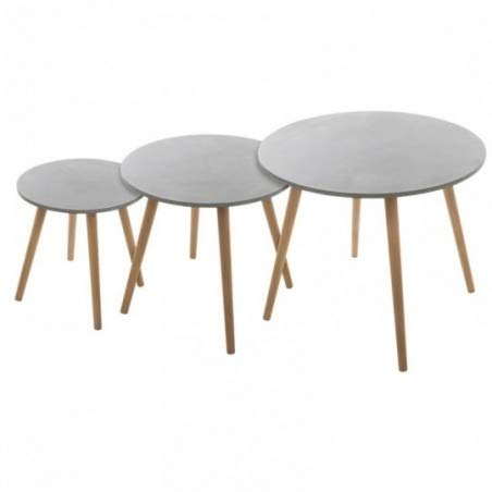 Atmosphera - Lot de 3 Tables à café Ciment Mileo - Gris