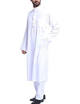 Gnaixeh Männer Stehen Hals Langärmelige Saudi Arabische Thobe Islamische Muslimische Dubai Robe Mit Hose