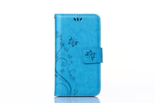 Sunnycase® Etui iPhone 5/5S Luxe PU Cuir Coque Housse Portefeuille Dragonne Case Cover de Protection Swag Shell avec Fonction Support Motif Papillon Fleur pour iPhone 5/5S - Violet clair Pattern 12