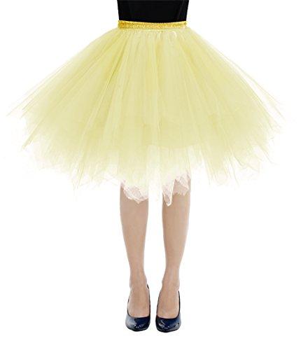Gelb Damen Rock (Bbonlinedress Kurz Retro Petticoat Rock Ballett Blase 50er Tutu Unterrock Yellow XL)