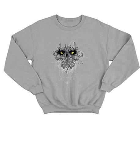 LumaCrewnecks Halloween Evil Devil Spirit_007417 Cute Funny Sweater Sweatshirt Pullover Present - 2XL Grey Crewneck -