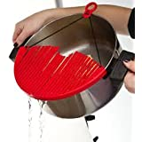 Generic Foldable Snap Rubber Rubber Strainer, Red