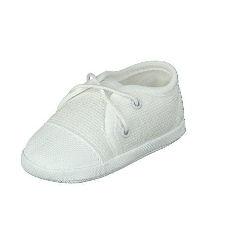 Omnia-Baby Babyschuhe Taufschuhe Lauflernschuhe Kinderschuhe Krabbelschuhe, Festliche Baby Schuhe, Jeansstoff, Weiß, Größe EU 18