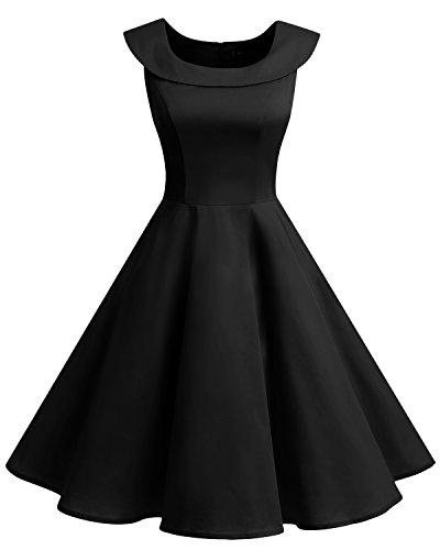 Bbonlinedress 1950er Vintage Retro U-Ausschnitt Rockabilly Cocktail Kleider Schwarz L