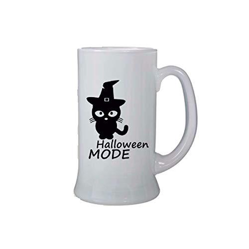 Paare Idee Bierkrug Birra Glas 0,5 ml mit Schriftzug Halloween Mode Katze Schwarz