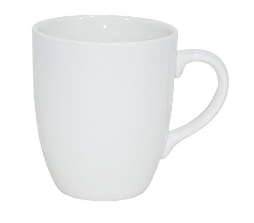 Set aus 12 Stück Tassen 300 ml aus Echtem Porzellan, Auch Zum Bemalen bestens Geeignet (Porzellantassen Tasse Becher für Tee Kaffee Milch Cappuccino) Weiße Becher
