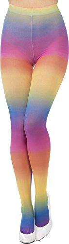 ichte Strumpfhose, One Size, Regenbogen-Farben, Bunt, 44620 (Pink Und Orange Gestreiften Strumpfhosen)
