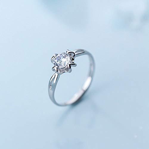 ESCYQ Ringe Für Damen S925 Sterling Silber Verstellbaren,Mode Exquisite Frische Kleine Single Diamond Flower Einfache Temperament Romantische Eröffnung Ring Für Damen Accessoires V -