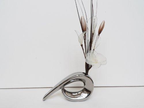 Crema gossamer nylon composizione floreale in un vaso virgola–fiori artificiali silver