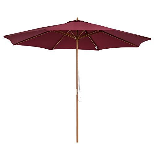 Outsunny Parasol rond grande taille diamètre 3 m bois polyester haute densité rouge