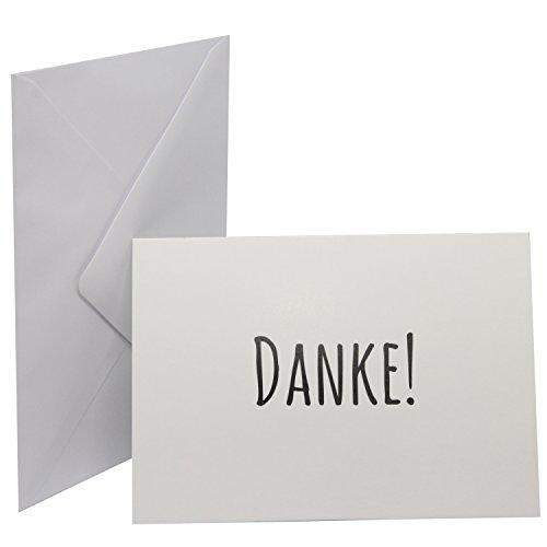 10x Dankeskarten Postkartenformat DIN A6 mit 10x weißen Umschlägen im Set - Danke sagen - Hochzeit, Taufe, Geburt, Geburtstag, Baby, Jubiläum