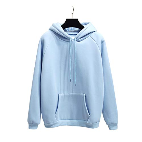 A0127 Womens Student Plus Size Langarm Candy Solid Color Hoodies verdicken Fleece Tasche Kordelzug Sweatshirt Pullover Harajuku Casual Trainingsanzug (Plus Hoodies Size Frauen)