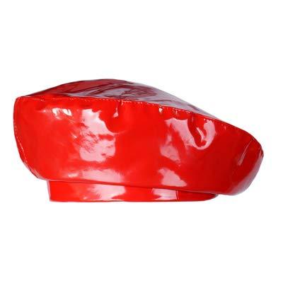 Ying xinguang Damen breiter Krempe Beret Cap Vintage Leder Newsboy Hut für Damen ! (Farbe : Rot) -
