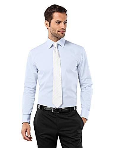 Vincenzo Boretti Herren-Hemd bügelfrei 100% Baumwolle Slim-fit tailliert Uni-Farben - Männer lang-arm Hemden für Anzug Krawatte Business Hochzeit Freizeit hellblau 39/40