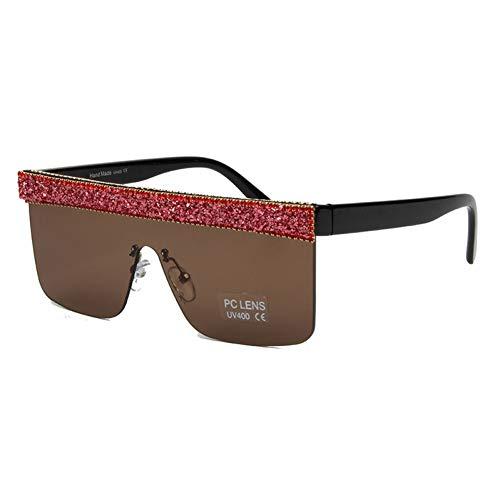 Taiyangcheng Polarisierte Sonnenbrille Übergroße Sonnenbrille Männer Vintage Marke Fahren Sonnenbrille Frauen Strass Flat Top Big Frame Sonnenbrille Retro Brillen Uv400,rot