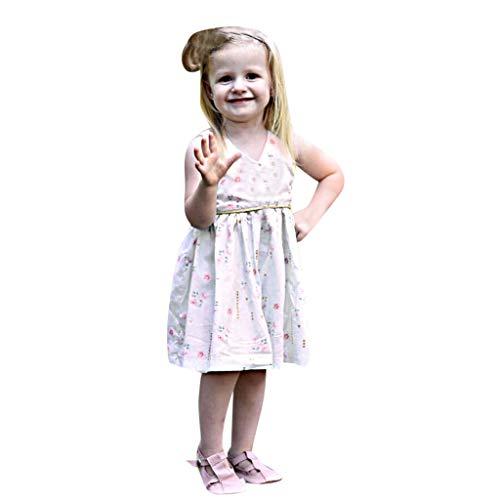 i-uend 2019 Mädchen Frühling Sommer Kleid - Kleinkind Kleinkind Baby ärmellose Rüschen Floral Sommerkleid Tuch Prinzessin Kleid für 0-3 Jahre (0 Petite Kleid)