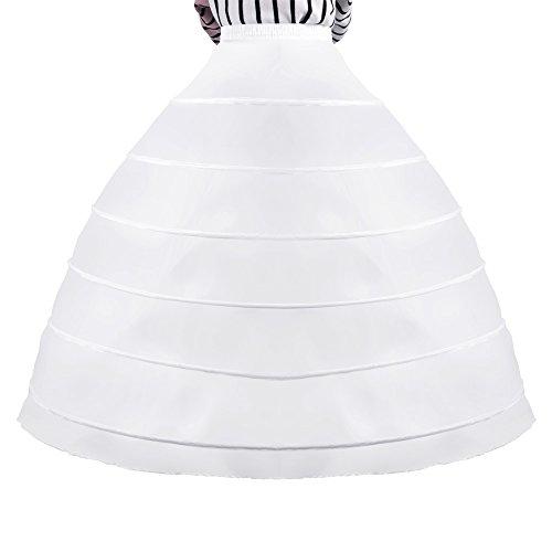 6-Hoop Unterrock Unterröcke Reifrock Petticoat weiß für Damen Brautkleid Krinoline Hochzeit...