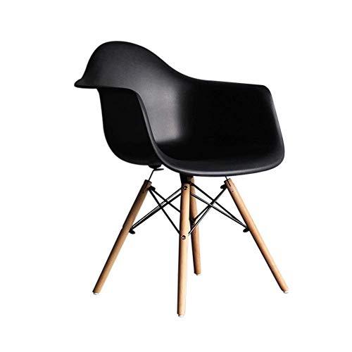 YLCJ Stühle Esszimmerstuhl, HYX002 Computer Stuhl, Bürostuhl, Verhandlungsstuhl, Home Office, Nordic Minimalist Style, Kunststoff mit Rückenlehne, mit Sessel (Farbe: Schwarz)