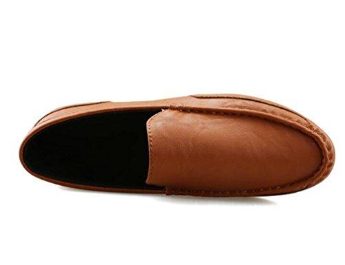 Anti ons Dos Homens simples derrapante Baixos Solas Couro Eu Sapatos Branco Lazer Confortáveis 44 Mocassins Macio Da 38 Slip De Forma Top Tamanho xZ58qawI
