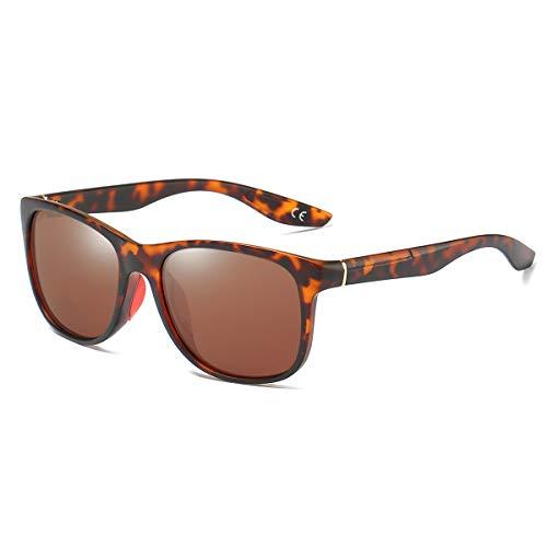 BLEVET Polarisierte Sonnenbrille für Herren Damen Sport Fahren UV400 Protection BE006 (Leopard Frame Brown Lens)