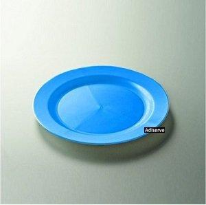 12 assiettes jetables plastique couleur turquoise 19cm - Adiserve -