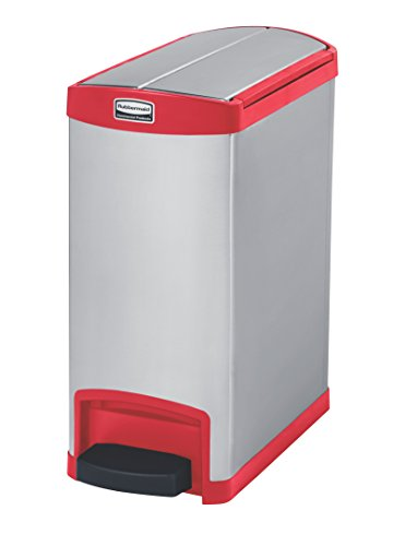 Rubbermaid Slim Jim 30 Litre End Step Step-On Stainless Steel Wastebasket - Red (Rubbermaid Mülleimer Rot)